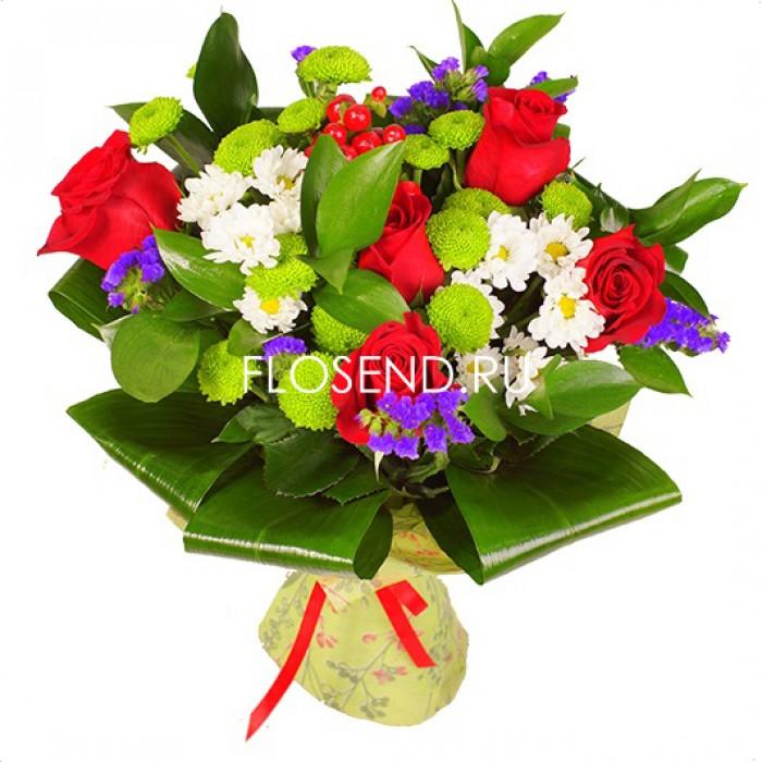 Букет из белых хризантем и красных роз