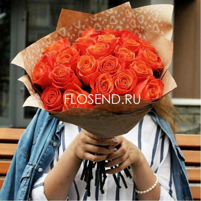 Букет из 25 оранжевых роз