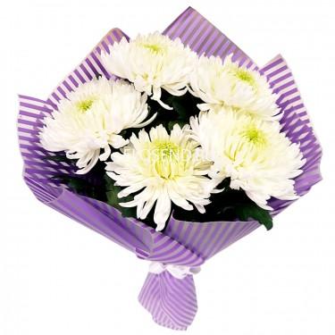 Букет из 5 хризантем одноголовых