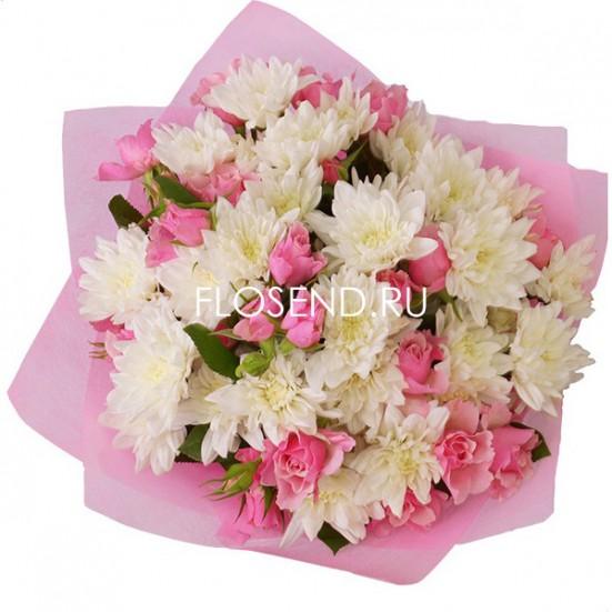 Букет из белых хризантем на 1 сентября