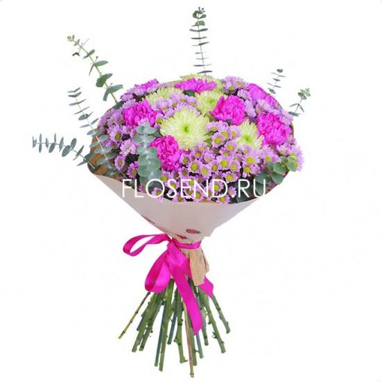Букет из гвоздик и хризантем